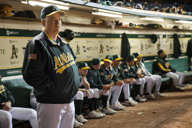 """Philip Seymour Hoffman portrays Oakland A's manager Art Howe in """"Moneyball."""" (AP Photo/Columbia Pictures-Sony, Melinda Sue Gordon)"""