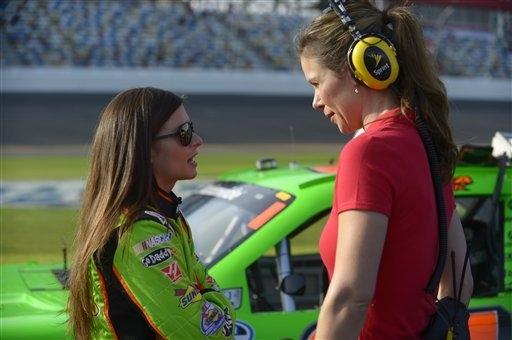 Pit road reporter and Las Vegas resident Jamie Little, right, talks with driver Danica Patrick last February at Daytona Beach, Fla. (AP Photo/Phelan M. Ebenhack)