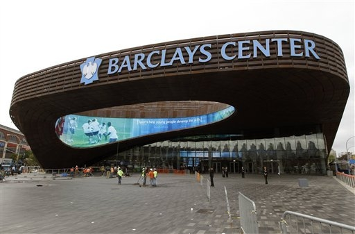 The Barclays Center in the Brooklyn borough of New York is shown in a 2012 file photo. The Barclays Center is making a last-minute attempt to lure the Mayweather-Maidana fight scheduled for May 3, ...