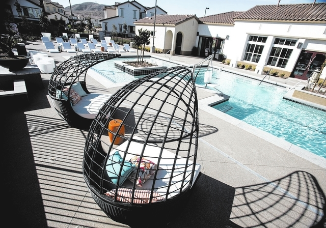 The pool area at Elysian at Southern Highlands,12020 Southern Highlands Parkway, as seen on Monday, Feb. 17, 2014. The former DR Horton for-sale project that stalled in the recession and has been  ...
