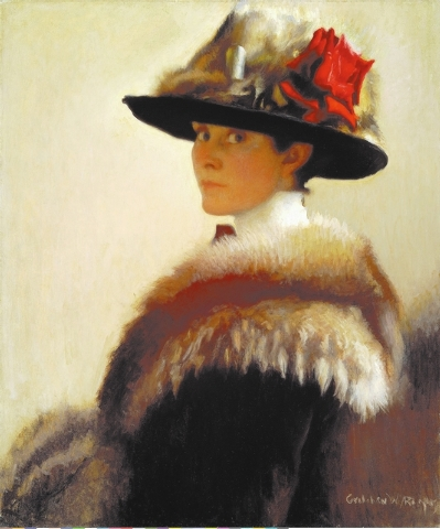 """Gretchen Woodman Rogers' """"Woman in a Fur Hat"""" is dated at around 1915. (Courtesy)"""
