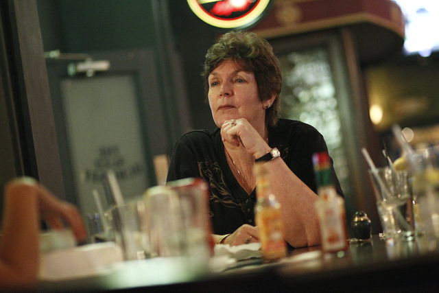 Peggy Compehos celebrates the life of her son Lawrence Compehos Jr. with friends and family at Kavanaugh's Pub in Las Vegas June 16, 2012. Compehos died in 2008. (John Locher/Las Vegas Review-Journal)