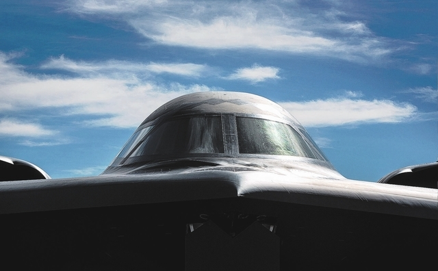 "The ""Spirit of Texas"" B-2 Spirit bomber as seen on Wednesday, Feb. 12, 2014 at  Nellis Air Force Base. The squadron, based at  Whiteman Air Force Base, Mo., participated in Red Flag air  ..."