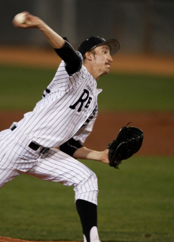 Erick Fedde of UNLV pitches against Central Michigan during a game at UNLV in Las Vegas Friday, Feb. 14, 2014. (John Locher/Las Vegas Review-Journal)