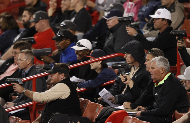 Major League scouts watch a game between UNLV and Central Michigan at UNLV in Las Vegas Friday, Feb. 14, 2014. (John Locher/Las Vegas Review-Journal)