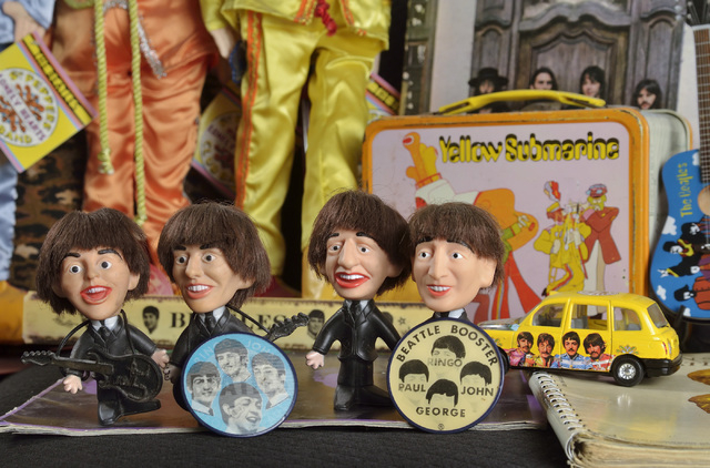 A part of the Beatles memorabilia collection owned by Sally Steele, editor and publisher of Vegas Rocks magazine, is shown at her home near Bermuda Road and East Pyle Avenue on Thursday, Jan. 30,  ...