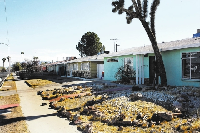 GARY THOMPSON/LAS VEGAS REVIEW-JOURNAL Home on Wyatt Avenue in the Berkley Square neighborhood is shown on Nov. 23, 2009, in Las Vegas. The neighborhood was recently added to the National Register ...