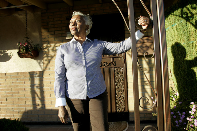 CRAIG L. MORAN/LAS VEGAS REVIEW-JOURNAL Ruth D'Hondt stands on the front step of her home at 500 Freeman Street in the Berkley Square neighborhood on Monday, November 23, 2009. The neighborhood wa ...