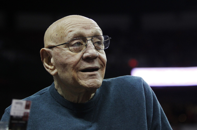 Hall of Fame coach Jerry Tarkanian attends the UNLV basketball game as they take on Boise State at the Thomas & Mack Center in Las Vegas on Saturday, Feb. 1, 2014. (Jason Bean/Las Vegas Review-Jou ...