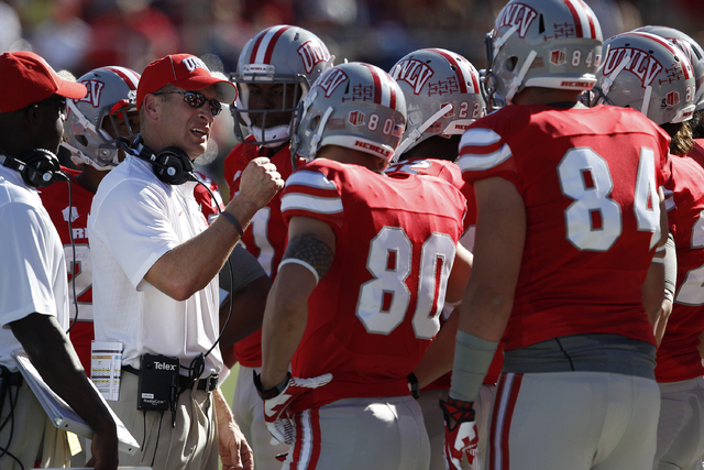 UNLV football coach Bobby Hauck agreed to a new three-year contract Wednesday, Nov. 27. (John Locher/Las Vegas Review-Journal)