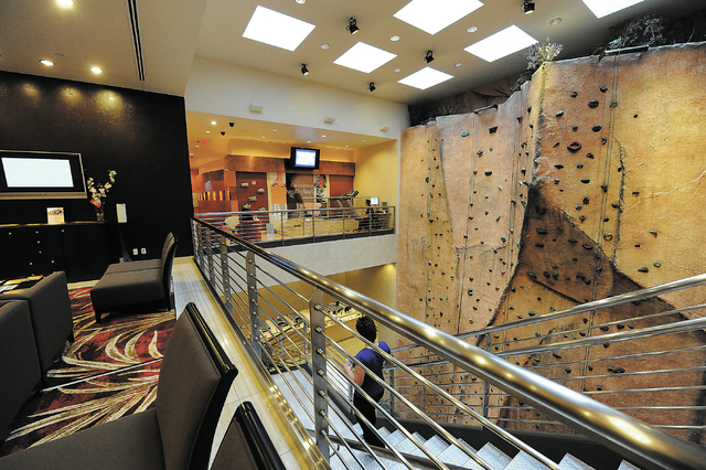 The rock-climbing wall is seen at the Canyon Ranch Spa in the Venetian hotel-casino in Las Vegas, Thursday, Feb. 7, 2014. (Jerry Henkel/Las Vegas Review-Journal)