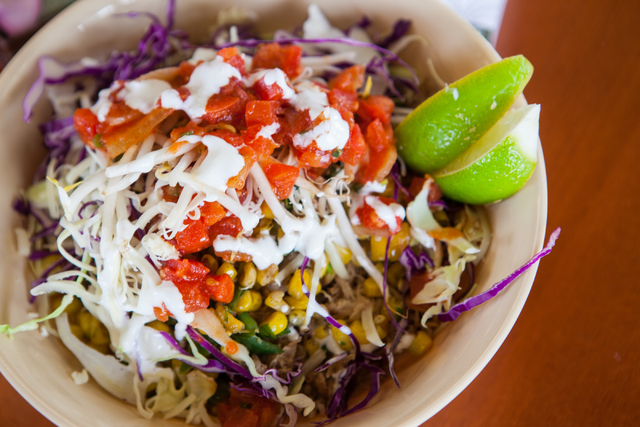 The Kalua Pig Bowl is seen at Braddah's Island Style, 2330 S. Rainbow Blvd., in Las Vegas on Saturday, Feb. 15, 2014. (Chase Stevens/Las Vegas Review-Journal)