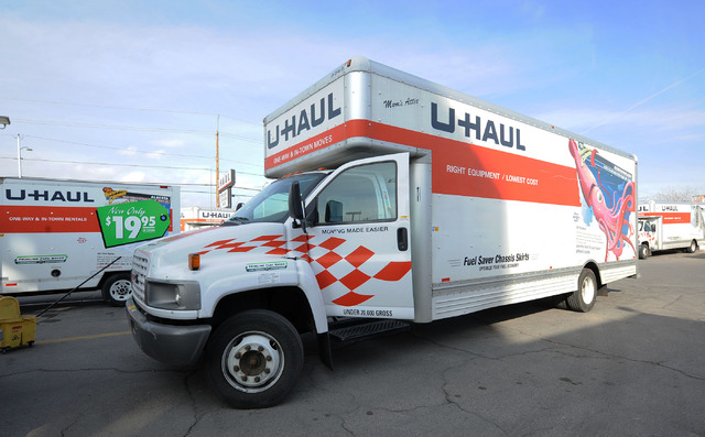 A 26-foot truck is moved for cleaning at the U-Haul center at 2001 W. Bonanza Rd., in Las Vegas, Friday, Feb. 7, 2014. (Jerry Henkel/Las Vegas Review-Journal)