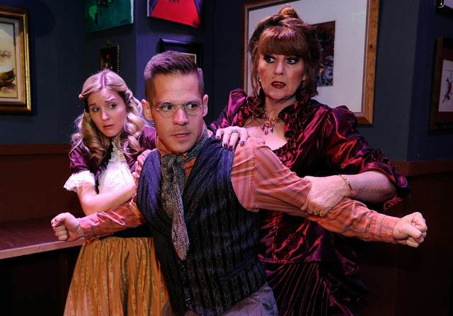 """Stacia Zinkevich, left, Brandon Burk and Kellie Wright rehearse for """"Anton Chekhov's 'Cherry Orchard of the Living Dead,' """" opening this weekend at the Onyx Theatre. (David Becker/Las Vegas Review ..."""