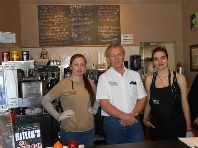 Perry Cirkle, center, with employees Morgan Poindexter, left, and Elena Brincat has big plans for The Coffee House. Cirkle recently purchased the business and hopes to use it to revitalize the are ...