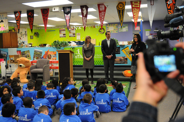Principal Katie Decker, from right, Ned Martin, member of the the board of trustees at the Nevada College Savings Plans, and State Treasurer Kate Marshall, talk about the launch of the Nevada Coll ...