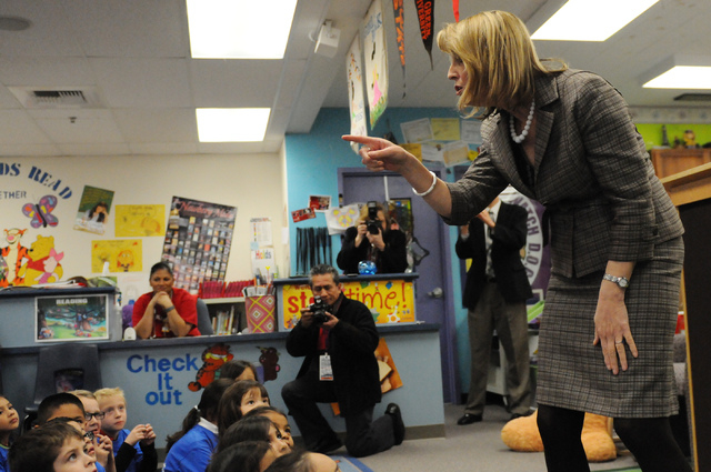 State Treasurer Kate Marshall talks about the launch of the Nevada College Kick Start Program during a media conference at Bracken Elementary School in Las Vegas Thursday, Feb. 20, 2014. The progr ...