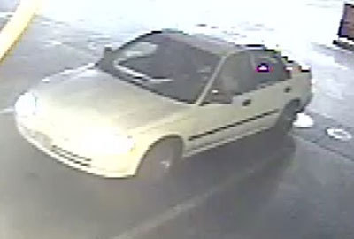 Las Vegas police say this car was used by suspects who robbed a convenience store near Maryland Parkway and Pyle Avenue on Tuesday and attacked the clerk. (Courtesy/Las Vegas police)
