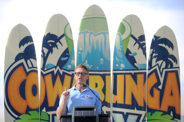Shane Huish from Cowabunga Bay Water Park speaks during a  groundbreaking for the park in Henderson on Tuesday, Dec. 4, 2012. Work on the park was delayed in May, but has started again in anticipa ...