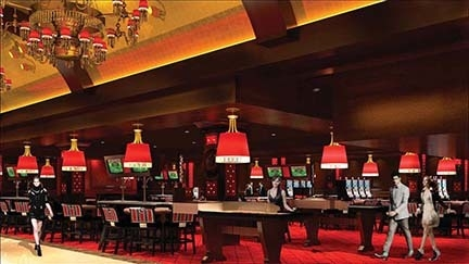 A rendering shows the casino area of The Cromwell. The property will open May 21. (Courtesy Caesars Entertainment Corp.)