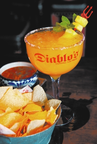 Mangorita at Diablo's Mexican Cantina, Monte Carlo: A margarita with an extra tropical twist, it contains Cabo Wabo Blanco Tequila, mango nectar and fresh lime with a sugar rim, $13, or $39 by t ...