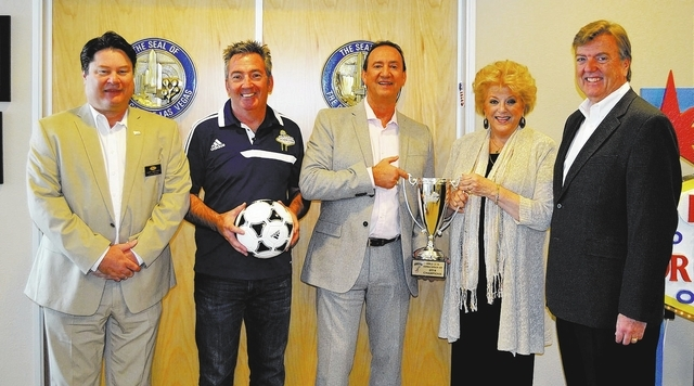 Courtesy photo Las Vegas Mayor Carolyn Goodman stands with Chapman Automotive General Managers Don Hamrick, from left, and Gary Brewer and Downtown Las Vegas Soccer Club Executive Director Gary So ...