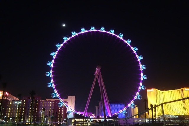 The High Roller observation wheel at The Linq is shown during a light test on Wednesday night. (Norm Clarke/Las Vegas Review-Journal)