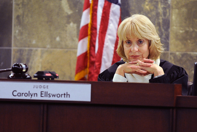 Judge Carolyn Ellsworth listens to testimony during certified nursing assistant Steven Farmer's trail at the Regional Justice Center on Monday, Feb. 10. Farmer is accused of sexual assault charges ...
