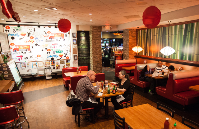 People dine at Fat Choy inside Eureka Casino at 595 E. Sahara Ave. in Las Vegas on Saturday, Jan. 18, 2013. (Chase Stevens/Las Vegas Review-Journal)