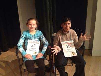 Sophia Hoffman, left, and Kush Sharma, right, beat every word thrown at them during  the Jackson County, Mo., spelling bee Saturday. (Courtesy, Jackson County Spelling Bee/Facebook)