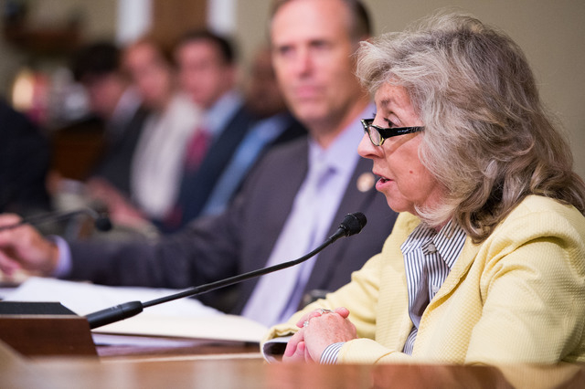 Rep. Dina Titus speaks in favor of a bill that would designate fossil beds at Tule Springs as a national monument.  Titus appeared at the House public lands and environmental regulation subcommitt ...