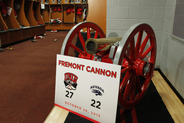 The Fremont Cannon trophy sits in the UNLV football locker room with a fresh coat of red paint on Nov. 12, 2013. The rivalry game between UNLV and UNR will be played on Nov. 29 at Sam Boyd Stadium ...