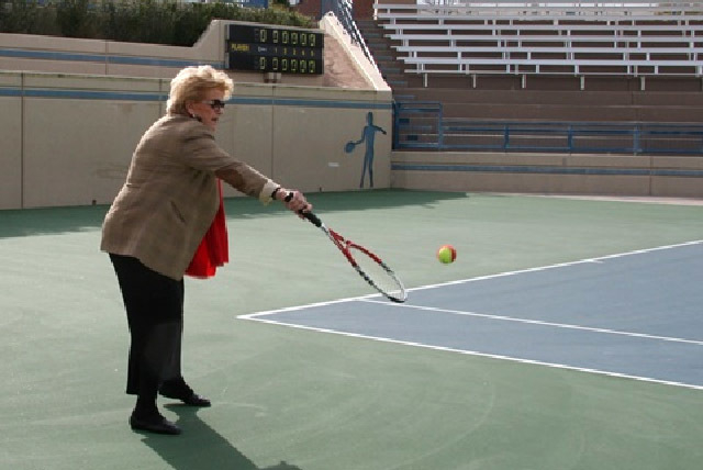 Las Vegas Mayor Carolyn Goodman gets on the court at Tuesday's Las Vegas Neon announcement. (Courtesy)
