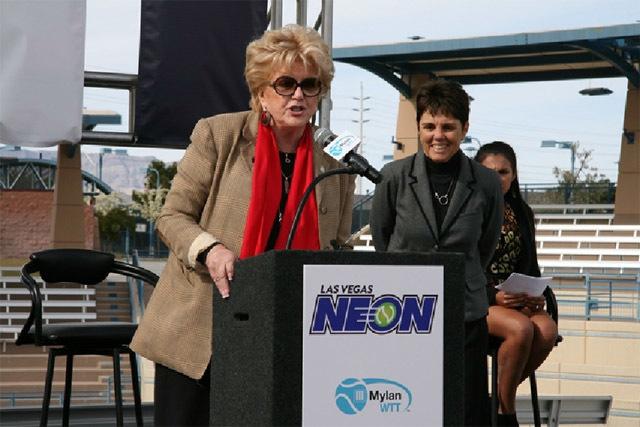 Las Vegas Mayor Carolyn Goodman speaks at Tuesday's Las Vegas Neon announcement. (Courtesy)