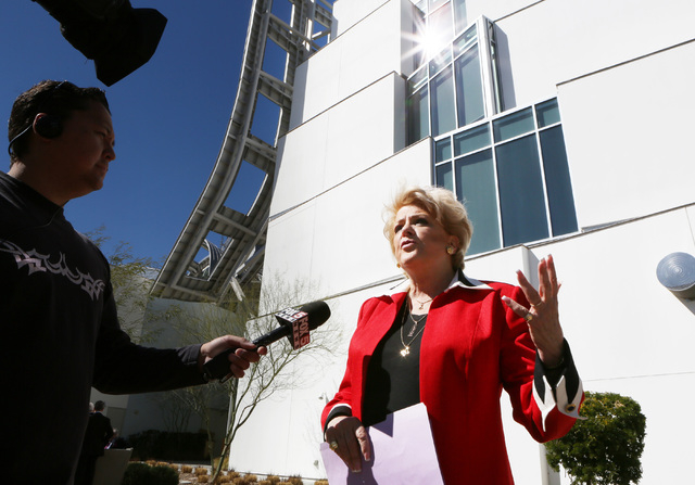 Las Vegas Mayor Carolyn Goodman speaks to the media during a news conference outside the Cleveland Clinic Lou Ruvo Center for Brain Health Thursday, Feb. 27, 2014, in Las Vegas.  Mayor Carolyn Goo ...