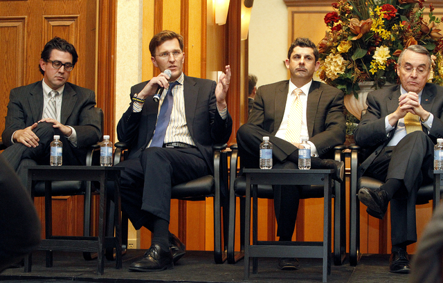 Left to right: Jeremy Aguero, Port Telles, Rick Arpin and Don Snyder discuss the many arena and stadium proposals and projects at the Review-Journal's Hashtags and Headlines event in the Texas Sta ...