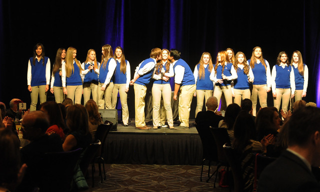 The Worship Chamber Musicians from Bishop Gorman High School perform at the Catholic Charities of Southern Nevada 73rd anniversary celebration Heart of Hope awards ceremony at the Red Rock Resort  ...
