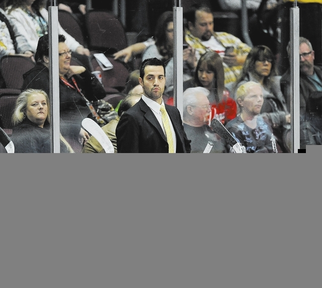 Las Vegas Wranglers head coach Mike Madill talks to his team during a timeout during the first period of an ECHL hockey game against the Ontario Reign at Orleans Arena in Las Vegas Saturday, Febur ...