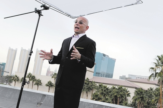 Anthony Melchiorri discusses his experience at the Fortune Hotel in front of the Las Vegas skyline. credit Travel Channel