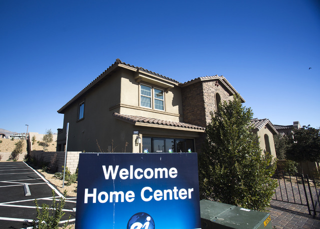 Model homes in the Paseo community at Summerlin are seen Tuesday, Feb. 25, 2014. Home price fell in December according to the latest Standard & Poorճ/Case-Shiller 20-city home price index. Las Ve ...