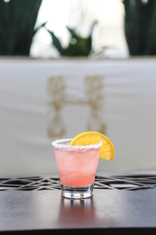 Blood Orange Margarita at Hyde Bellagio, Bellagio: Highly distilled Casamigos tequila is balanced with tart lime juice, sweet orange juice and Aperol aperitif and garnished with a blood orange hal ...