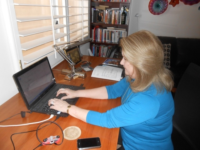 Summerlin resident Maureen Romito checks her emails Jan. 16 in her work to see Impact Las Vegas become a viable entity. The goal of the women's group is to fund other nonprofits with grants as lar ...
