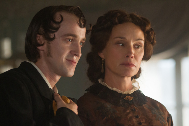 """Tom Felton and Jessica Lange star in """"In Secret."""" Felton, who plays Camille, the sickly son of Madame Raquin (Lange), becomes the husband of his caretaker/cousin, Therese. (Phil Bray/Roadside  ..."""