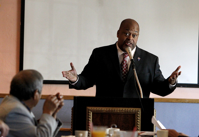 Niger Innis speaks at the Hispanics in Politics at Dona Maria Tamales restaurant in Las Vegas on Wednesday. Innis is running in the Congressional District 4 Republican primary against Assemblyman  ...