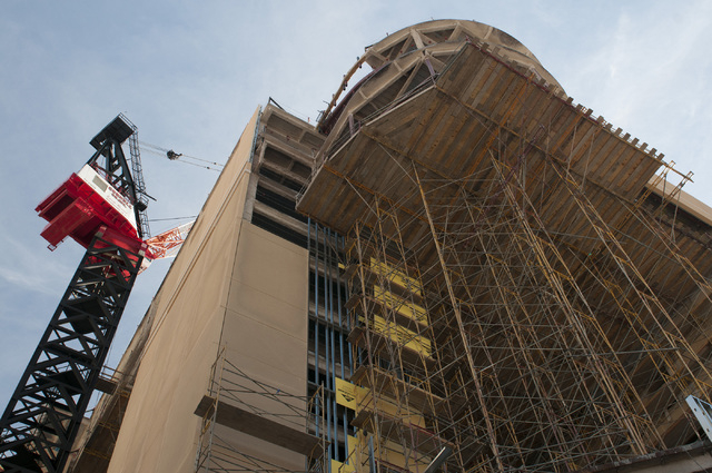The construction site of The Cromwell casino-hotel in Las Vegas is seen Tuesday, Feb. 4, 2014. The Cromwell, at the northeast corner of the Strip and Flamingo Road, will replace Bill's Gamblin' Ha ...