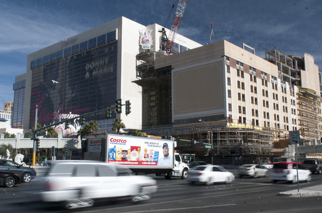 The construction site of The Cromwell casino-hotel in Las Vegas is seen Tuesday, Feb. 4, 2014. The Cromwell, at the northeast corner of the Strip and Flamingo Road, will open on May 21, replacing  ...