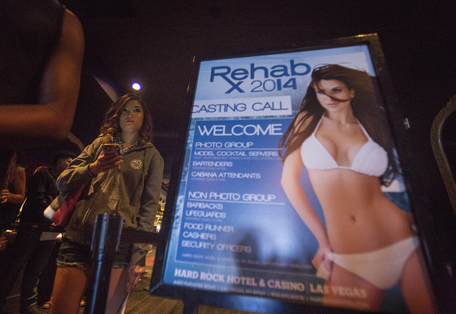 Crystal Lister stands in line during a job fair for Rehab at the Hard Rock Hotel & Casino on Monday, Jan. 27, 2014. She is applying for a cocktail position.   (Jeff Scheid/Las Vegas Review-Journal)