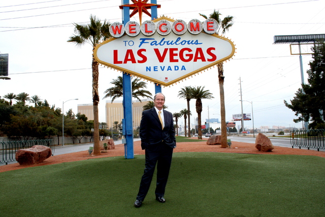 John Sullivan, president of First Security Bank of Nevada, poses in front of the Welcome to Las Vegas sign on the Strip in this undated photo. Sullivan's bank posted loan growth of 33.1 percent la ...