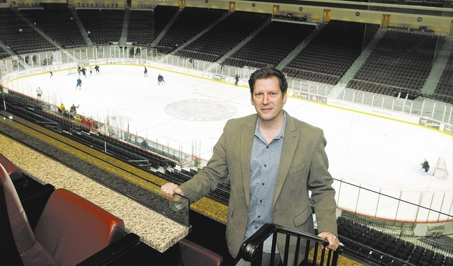 Las Vegas Wranglers President and COO Billy Johnson poses above the ice rink at the Orleans while the Wranglers practice Tuesday, December 14, 2010. (Review-Journal File Photo)