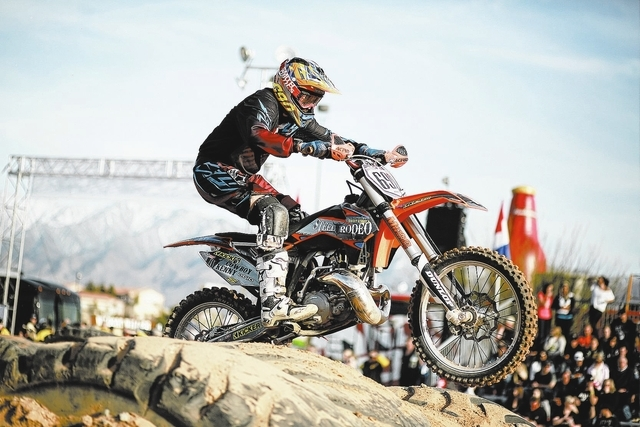Extreme sports pioneer Cowboy Kenny Bartram still competes at age 35. This weekend he'll be at the Mesquite Off-Road Weekend, performing a freestyle exhibition with his Steel Rodeo group. (Speci ...